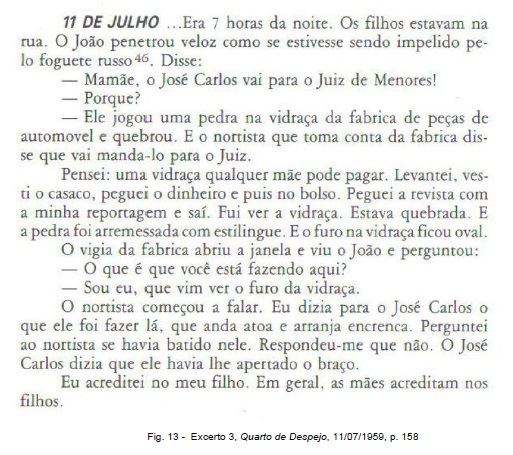 Fig. 13 -  Excerto 3, Quarto de Despejo, 11/07/1959, p. 158