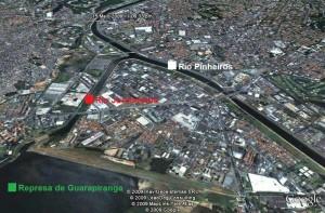 Imagem 6 Interligação Represa de Guarapiranga – Rio Jurubatuba – Rio Pinheiros por meio de barragem.