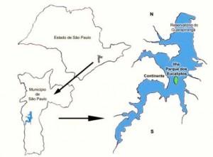 Imagem 1: Localização da bacia hidrográfica do reservatório do Guarapiranga, com as áreas do continente e da Ilha Parque dos Eucaliptos.