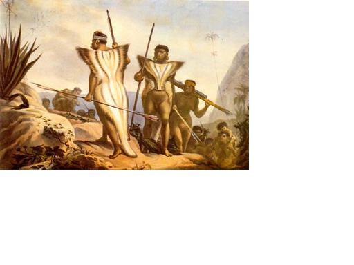 Pintura do artista francês Jean-Baptiste Debret de índios da etnia dos Botocudos que viviam na região sudeste do Brasil - 1843