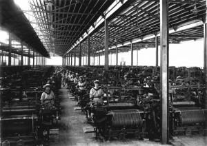 Foto do interior da Fábrica de Tecidos da Juta