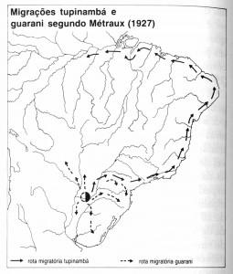 Migrações Tupinambá e Guarani segundo Métraux (1927)