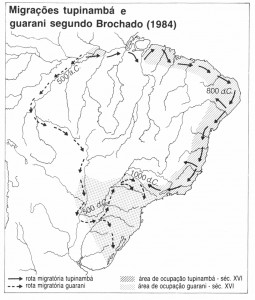 Mapa 3 - Migrações Tupinambá e Guarani segundo J. Brochado (1984)