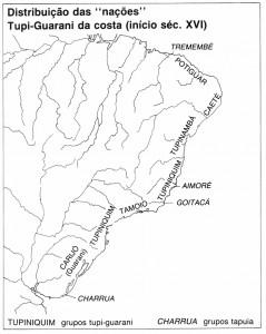 """Distribuição das """"nações"""" Tupi-Guarani pela costa (início séc. XVI)"""